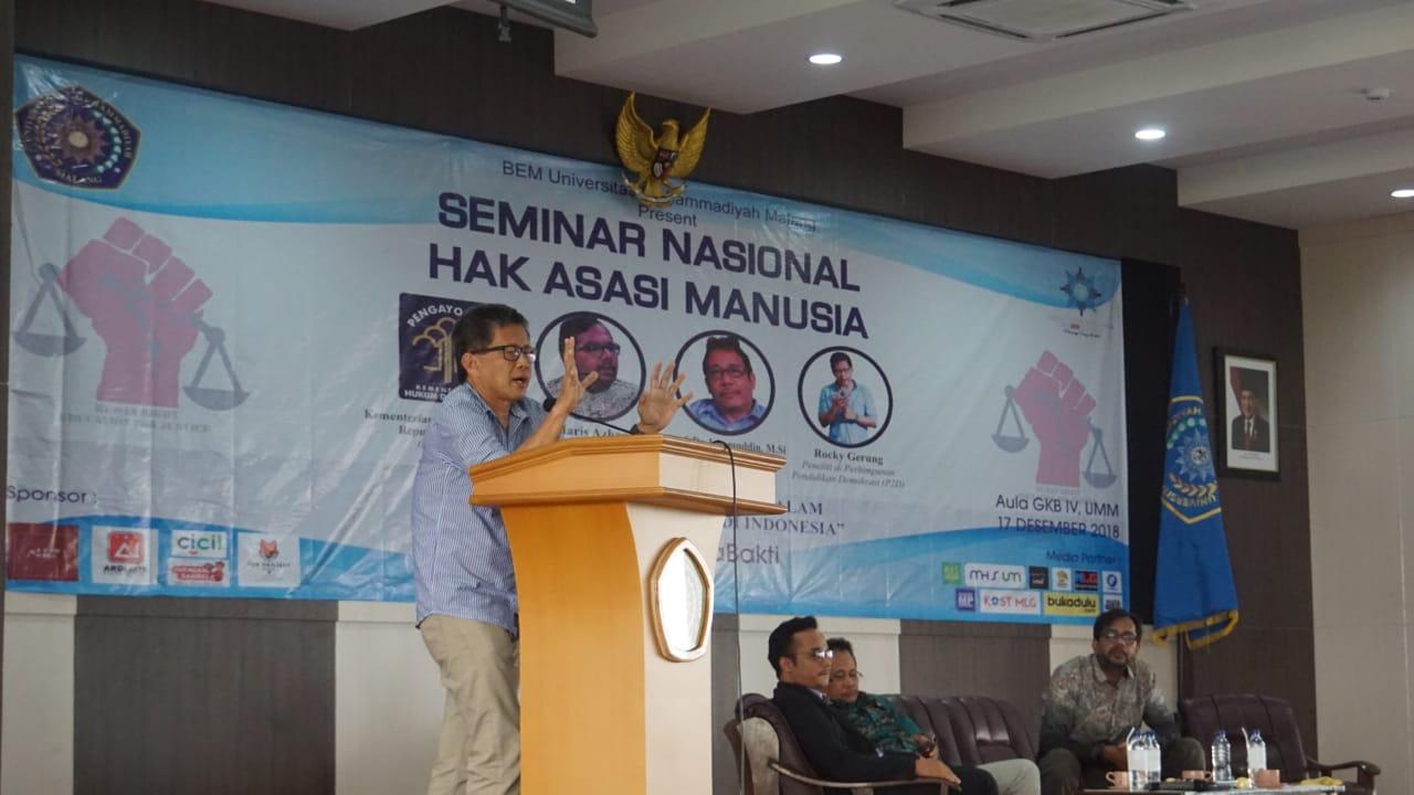 UMM Undang Haris Azhar dan Rocky Gerung dalam Seminar Nasional HAM