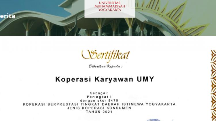 Kopkar UMY Terima Penghargaan Koperasi Konsumen Terbaik Tingkat DIY